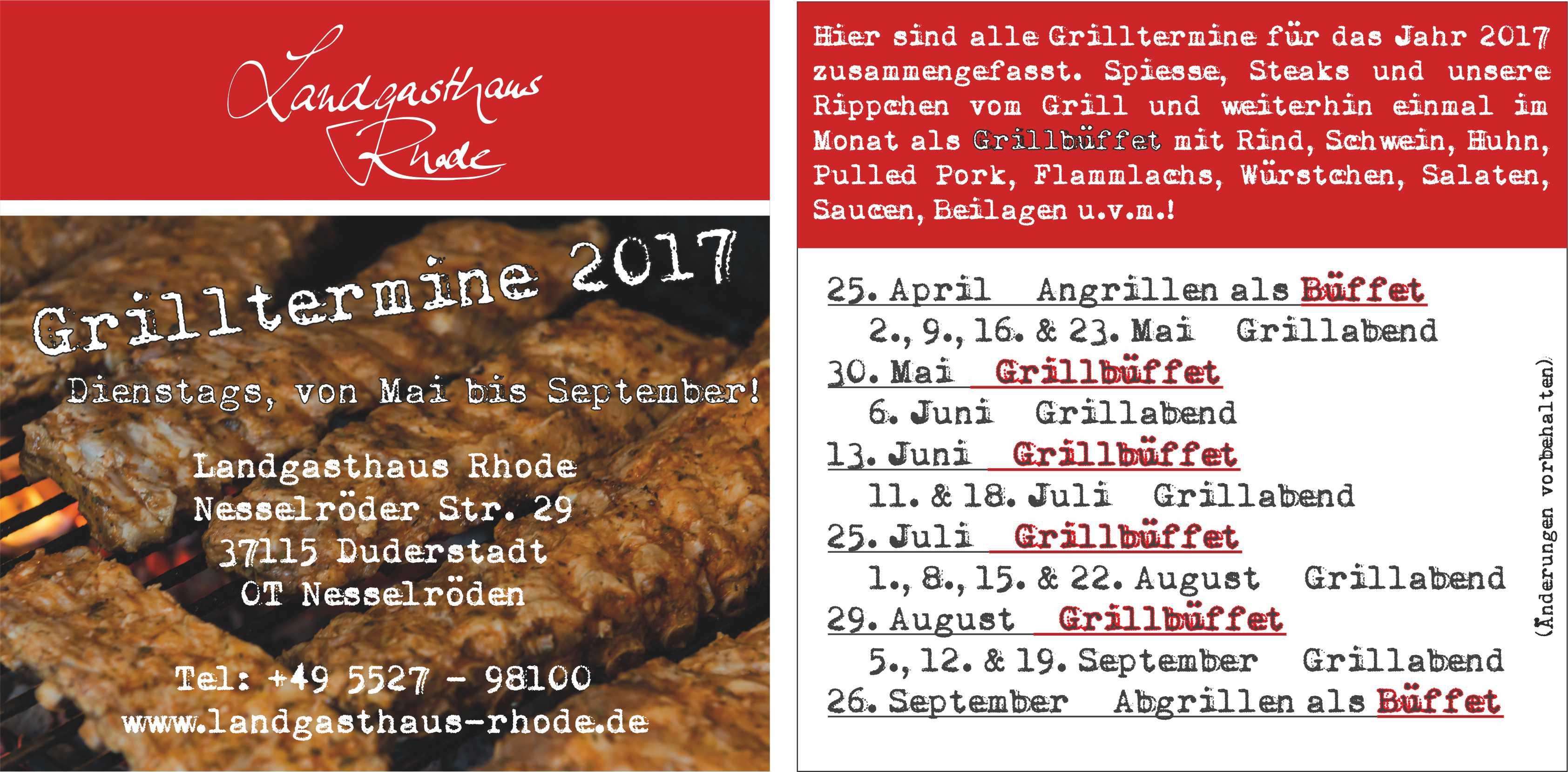Grilltermine 2017